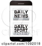 Clipart 3d Smart Phone With Daily News And Daily Sport Icons On The Screen Royalty Free Vector Illustration
