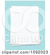 Clipart 3d Blank Ruled School Pages Over Blue Royalty Free Vector Illustration