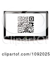Clipart Qr Code On A 3d Television Screen Royalty Free Vector Illustration