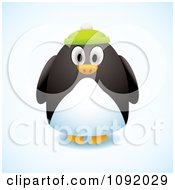 Clipart 3d Chubby Penguin Wearing A Green Hat Royalty Free Vector Illustration