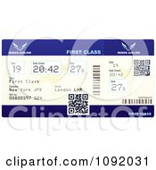 Clipart Qr Codes On A First Class Airline Ticket Royalty Free Vector Illustration