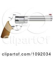 Clipart 3d Wooden Handled Revolver Handgun Royalty Free Vector Illustration