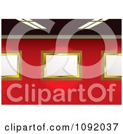 Clipart 3d Blank Golden Gallery Frames On A Red Wall Under Flourescent Lights Royalty Free Vector Illustration by michaeltravers