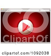 Clipart Play Button On A Red 3d Video Web Browser Screen Royalty Free Vector Illustration
