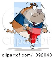 Tan Bulldog Using A Jackhammer