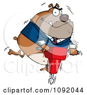 Clipart Tan Bulldog Vibrating With A Jackhammer Royalty Free Vector Illustration by Hit Toon