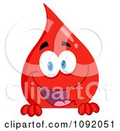 Clipart Blood Guy Smiling Over A Blank Sign Royalty Free Vector Illustration