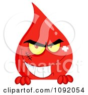 Clipart Evil Blood Guy Grinning Over A Blank Sign Royalty Free Vector Illustration