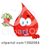 Clipart Blood Guy Waving Cash Over A Blank Sign Royalty Free Vector Illustration
