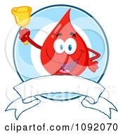 Clipart Blood Guy Ringing A Bell Over A Blank Banner Royalty Free Vector Illustration