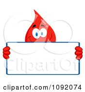 Clipart Blood Guy Holding A Blank Sign Royalty Free Vector Illustration