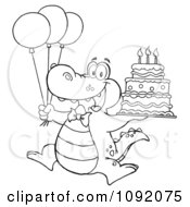 Clipart Outlined Birthday Alligator With Balloons And Cake Royalty Free Vector Illustration by Hit Toon