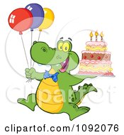 Clipart Birthday Alligator With Balloons And Cake Royalty Free Vector Illustration