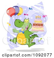Clipart Party Alligator With Balloons And A Birthday Cake Royalty Free Vector Illustration by Hit Toon