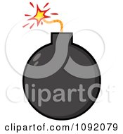 Clipart Black Bomb Royalty Free Vector Illustration by Hit Toon