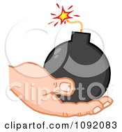 Clipart White Terrorist Hand Holding A Bomb Royalty Free Vector Illustration by Hit Toon