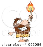 Clipart Happy Caveman Holding Up A Fiery Torch Royalty Free Vector Illustration by Hit Toon