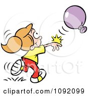 Clipart Girl Fisting A Balloon Royalty Free Vector Illustration