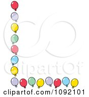 Clipart Left And Bottom Border Of Colorful Party Balloons Royalty Free Vector Illustration