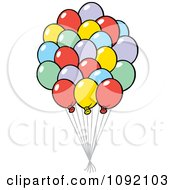 Clipart Colorful Party Balloon Bouquet Royalty Free Vector Illustration by Johnny Sajem