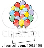Clipart Blank Sign Floating With Party Balloons Royalty Free Vector Illustration
