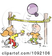 Clipart Boy And Girl Playing Balloon Volleyball Royalty Free Vector Illustration