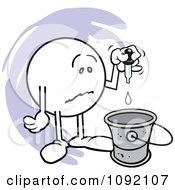 Clipart Sad Moodie Character Putting A Drop In The Bucket Royalty Free Vector Illustration