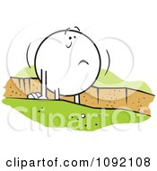 Clipart Moodie Character Stuck In A Rut Royalty Free Vector Illustration