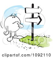 Clipart Moodie Character Looking At Signs At A Fork In The Road Royalty Free Vector Illustration
