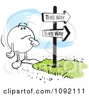 Clipart Moodie Character At A Fork In The Road Royalty Free Vector Illustration