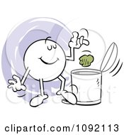 Clipart Moodie Character Tossing Garbage In The Trash Can Royalty Free Vector Illustration