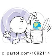 Clipart Moodie Character Tossing A Globe In The Trash Can Royalty Free Vector Illustration