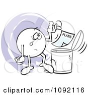Clipart Moodie Character Crying And Tossing Plans In The Trash Can Royalty Free Vector Illustration