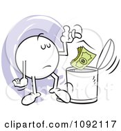 Clipart Moodie Character Tossing Dollars In The Trash Can Royalty Free Vector Illustration