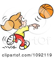Clipart Athletic Girl Tossing A Basketball Royalty Free Vector Illustration by Johnny Sajem