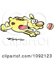 Clipart Happy Dog Chasing A Ball Royalty Free Vector Illustration
