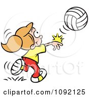 Clipart Athletic Girl Whacking A Volleyball Royalty Free Vector Illustration by Johnny Sajem