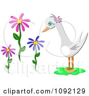 Clipart Gray Goose And Flowers Royalty Free Vector Illustration by bpearth