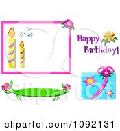 Clipart Happy Birthday Text And Design Elements Royalty Free Vector Illustration by bpearth