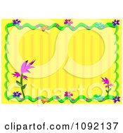 Yellow Striped Background And Floral Frame