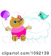 Happy Cat With A Balloon And Bird On A Cloud