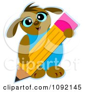 Clipart Dog Using A Big Pencil Royalty Free Vector Illustration by bpearth