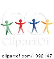 Clipart Happy Green Red Blue And Yellow People Royalty Free Vector Illustration by Prawny