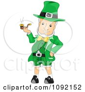 Clipart Cheery Leprechaun Smoking A Pipe Royalty Free Vector Illustration