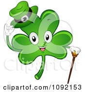 Clipart Happy St Patricks Day Shamrock With A Cane And Hat Royalty Free Vector Illustration by BNP Design Studio