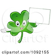 Clipart Happy St Patricks Day Shamrock Holding A Sign Royalty Free Vector Illustration by BNP Design Studio