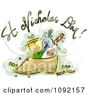 Clipart St Nicholas Day Greeting Over A Shoe With Goodies Royalty Free Vector Illustration
