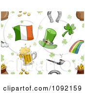 Clipart Seamless St Patricks Day Background Of Items On White Royalty Free Vector Illustration