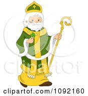Clipart St Patrick Holding A Clover And Staff Royalty Free Vector Illustration