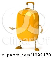 Clipart 3d Yellow Suitcase Presenting Royalty Free CGI Illustration